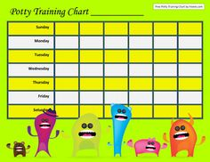 Scary Monsters Potty Training Chart Template for Six Weeks Potty Training Boys, Toilet Training, Printable Reward Charts, Scary Monsters, Dog Walking, Templates, Curriculum, Parenting, Classroom