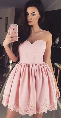 A-Line Homecoming Dresses,Sweetheart Homecoming Dresses,Short Homecoming Dresses,Pink Homecoming Dresses,Satin Homecoming Dresses,Appliques Homecoming Dresses,Homecoming Dresses 2017,Graduation Dresses 2017,Dresses For Teens