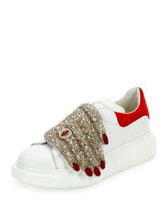 Alexander McQueen Flat Leather Sneaker w/Jeweled Hand, Multi Strangest shoe I've ever seen! Alexander Mcqueen Sneakers, White Sneakers, Leather Sneakers, Jewel Hands, Baskets, Fall Trends, Mode Style, Me Too Shoes, Fashion Shoes