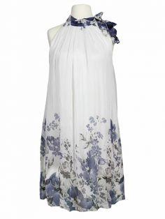 Damen Kleid mit Blüten, weiss von Spaziodonna bei www.meinkleidchen.de
