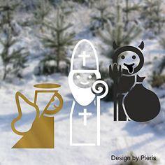 Vánoční samolepky na okno Mikuláš, čert a anděl Christmas Time, Place Cards, Pastel, Place Card Holders, Culture, Products, Madness, Cake, Crayon Art