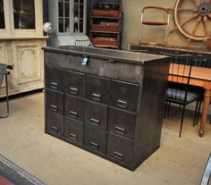 1950s Industrial French Miltary Iron Drawer cabinet