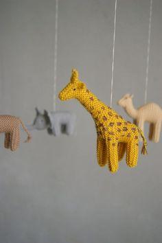 Knitted Mobiles via | http://cuteblankets.blogspot.com