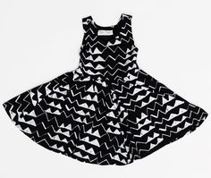 Mountain Twirling Dress in White on Black