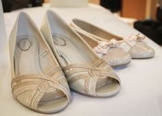 gold wedding shoes, bride with two pairs of shoes, Dune gold bow flats, idoonabudget Gold Wedding Shoes, Bow Flats, Gold Heels, Chanel Ballet Flats, Bridal Accessories, Dune, Bridal Style, Pairs, Bride