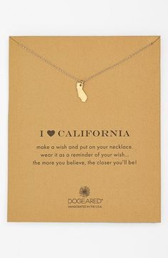 Free shipping and returns on Dogeared 'Reminder - I Heart California' Boxed Pendant Necklace at Nordstrom.com. Your favorite state is suspended from a delicate chain necklace as a reminder of home pride.