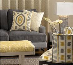 Marvelous Grey Color Scheme Interior Design Idea For Living Room With Gray Sofa With Cream Cushion With Gray Motive, White Orchid, Yellow Po. Grey And Yellow Living Room, Grey Room, Gray Yellow, Yellow Cream, Yellow Accents, Gray Color, Room Color Schemes, Room Colors, New Living Room
