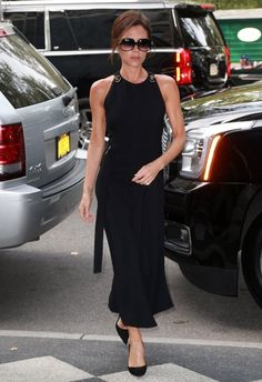 Victoria Beckham Little Black Dress - Victoria Beckham looked elegant on the streets of New York City in a sleeveless LBD from her own line.
