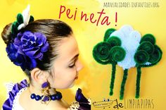 Peineta con limpiapipas Chula, Crochet Necklace, Diy, Fashion, Carnival, Fancy Dress For Kids, Crafts To Make, Hair Combs, Head Bands