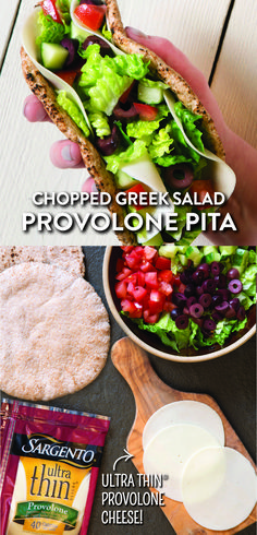 A busy workday is no match for these quick-to-prepare vegetarian Greek Salad Pitas. Chop your favorite veggies and toss with a vinaigrette before stuffing into whole-wheat pitas. For a tasty change from the traditional Greek Salad, use a couple slices of our Ultra Thin® Provolone Cheese, the same delicious Sargento® cheese just sliced thinner. Get the full lunch recipe on our website Sargento.com.