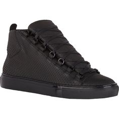 Balenciaga Python Arena High-Top Sneakers (4.621.885 COP) ❤ liked on Polyvore featuring mens, men's shoes and men's sneakers