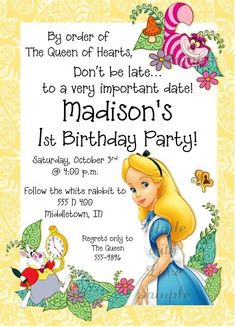 Alice in Wonderland Invitations madewithloveinvite@sbcglobal.net