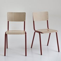 Chaises empilables style écolier, Hiba (lot de 2), 160 €, La Redoute