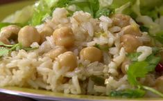 Coconut-Ginger Rice with Chickpeas and Chiles Recipe : Rachael Ray : Recipes : Food Network Rachel Ray, Rice Dishes, Main Dishes, Cheap Vegan Meals, 30 Min Meals, Vegetarian Recipes, Healthy Recipes, Rice Recipes, Yummy Recipes