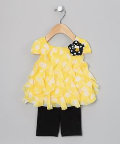 Take a look at this Yellow Polka Dot Tunic & Leggings - Infant by Rare Editions on #zulily today!