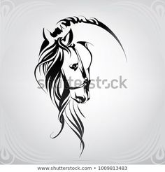 Silhouette of the head horse - Tattoo Crafts - Garden Decor DIY - DIY Bathroom Ideas - Formal Hairstyles - DIY Jewelry To Sell Horse Head Drawing, Horse Drawings, Animal Drawings, Art Drawings, Drawing Art, Horse Stencil, Horse Tattoo Design, Horse Sketch, Horse Silhouette