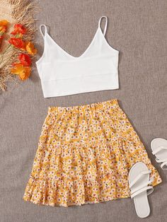 Two Piece Outfit, Two Piece Skirt Set, Skirt Outfits, Cute Outfits, Summer Outfits, Womens Co Ords, Western Dresses, Ditsy Floral, Teenager Outfits