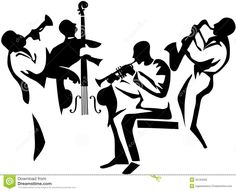 Jazz Musician Silhouettes | Jazz Quartet stylized musicians' silhouettes with upright bass ...