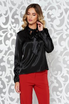 StarShinerS black women`s blouse elegant with easy cut from satin fabric texture long sleeved, easy cut, long sleeves, nonelastic fabric, satin fabric texture