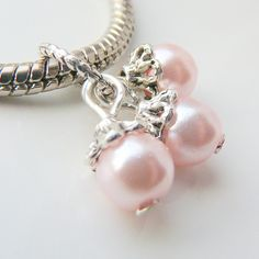 Choice of Color Glass Pearl Cluster Large Hole Charm by RoyalBeadz