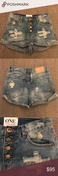 One Teaspoon Denim Hawks Shorts Distressed denim shorts with rolled hem and exposed button fly. One Teaspoon Shorts Jean Shorts