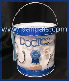 What a way to thank your favorite doc or nurse! This Pail comes fully decorated on the outer pail with doctor items. Give a doctor a pail pals as a thank you, holiday or just because gift to show your appreciate. Fill the can with candy or any kind of snacks that your doctor may enjoy.