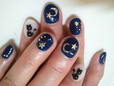 こだわりの月と星と猫 ネイル!