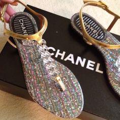 yummiesss...chanel lucite chain thong sandals.