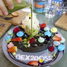 """Just pouring some Matcha Ganache onto my Charcoal Choc-chip Belgium Waffle with Matcha Ice-cream Persian Fairy Floss Rainbow Meringues and Fresh Fruit """"Don't act like you're not impressed"""" by Belgium Waffles, Matcha Ice Cream, Melbourne Food, Fresh Fruit, Acai Bowl, Chips, Activated Charcoal, Coffee, Breakfast"""