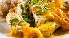 Täytetyt broilerinleikkeet ja appelsiinikastike - Yhteishyvä Thai Red Curry, Risotto, Goodies, Food And Drink, Turkey, Meat, Chicken, Dinner, Ethnic Recipes