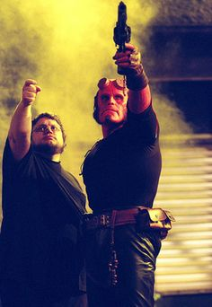 Guillermo del Toro and Ron Perlman on the set of Hellboy (2004)