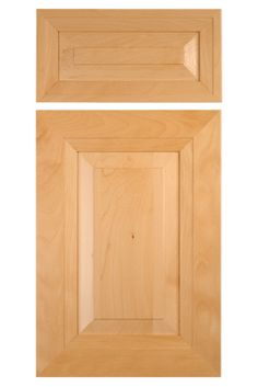 Mitered cabinet door with raised panel in select European beech.