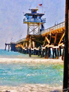 San Clemente Pier, Cold Front, Beach Shack, Sea Waves, Coastal Art, Lifeguard, Solar Power, Tower, Ocean