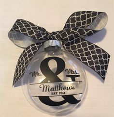 Monogrammed Wedding Ornament Mr and Mrs by SennCreations on Etsy