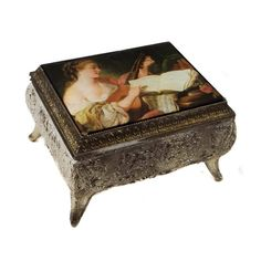 Vintage Jewelry Box with Padded Artwork Lid from Japan ($28) ❤ liked on Polyvore featuring home, home decor, jewelry storage, vintage home decor, jewelry box, vintage home accessories, vintage jewelry box and vintage trinket boxes