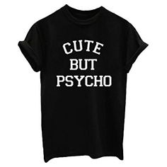 YITAN Letter Print Short sleeve O Neck Women T Shirt Top Black Medium *Click image to check it out* (affiliate link)