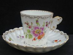 EXQUISITE ANTIQUE DRESDEN CHOCOLATE CUP  SAUCER BUTTERFLY HANDLE FLORAL SPRAYS