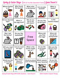 Heather's Speech Therapy: Spring and Easter Wh and Yes/No Questions BINGO! Pinned by SOS Inc. Resources. Follow all our boards at pinterest.com/sostherapy/ for therapy resources.