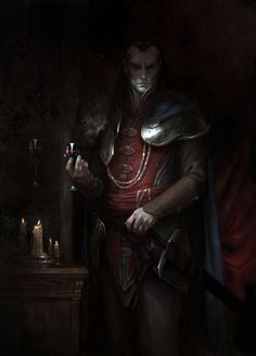 Curse of Strahd by daarken vampire drow dark elf fighter knight prince soldier armor clothes clothing fashion player character npc | Create your own roleplaying game material w/ RPG Bard: www.rpgbard.com | Writing inspiration for Dungeons and Dragons DND D