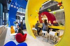 Designed by architecture firm Camenzind Evolution, Google's Dublin Office has 14 floors, 5 restaurants, 42 kitchenettes, a fitness center, a game room and swimming pool.