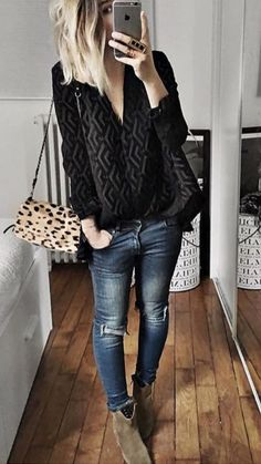 Cute Winter Outfits To Copy Now - ClassyStylee Cute Winter Outfits, Fall Outfits, Casual Outfits, Cute Outfits, Fashion Outfits, Look Hippie Chic, Mode Jeans, Love Fashion, Womens Fashion
