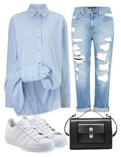 A fashion look from January 2016 featuring Genetic Denim, white lace up sneakers and balenciaga shoulder bag. Browse and shop related looks. Distressed Jeans, Victoria Beckham, Letting Go, Adidas Originals, Going Out, Fashion Looks, Let It Be, Shoe Bag, Balenciaga