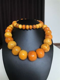 A big yellow color Baltic Amber necklace/beads (194.3 g.) 103E | eBay