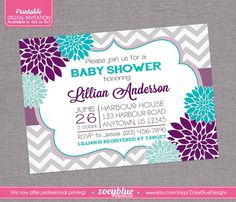 Floral Purple Aqua Blue Baby Shower Invitation by ZoeyBlueDesigns