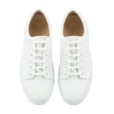 Steffi tennis shoes ($290) ❤ liked on Polyvore featuring shoes, sneakers, flats, white, flat shoes, flat pumps, flat heel shoes, white flats and white tennis shoes
