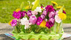 Frühlingsblumen frisch geschlüpft #easter #decor #spring #eggbox #eggcarton #flowers #cute