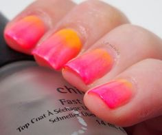 Life and Polish: Neon Ombre Manicure. This reminds me of a drink.