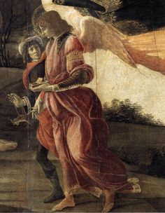 Raphael and Tobias (detail from Holy Trinity), Sandro Botticelli, 1491, tempera