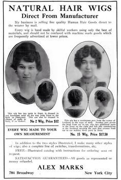 HAIRCARE: Alex Marks Natural Hair Wig Advertisement - Crisis Magazine, July, 1918