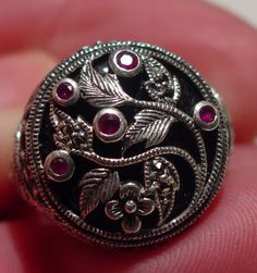 ANTIQUE ART NOUVEAU AESTHETIC STERLING RUBY ONYX THEODOR FAHRNER RING #THEODORFAHRNER #SOLITAIRE